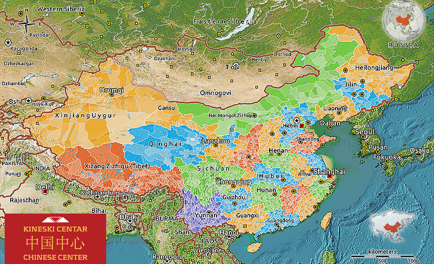 Political 3d map of China, satellite outside.
